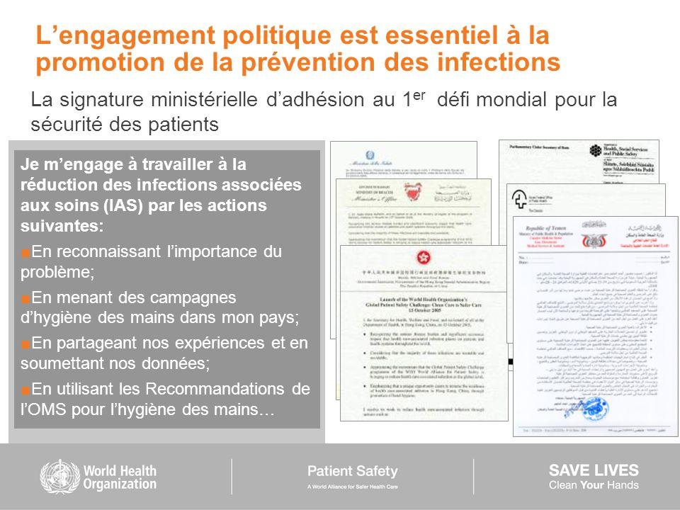 Lengagement politique est essentiel à la promotion de la prévention des infections La signature ministérielle dadhésion au 1 er défi mondial pour la s