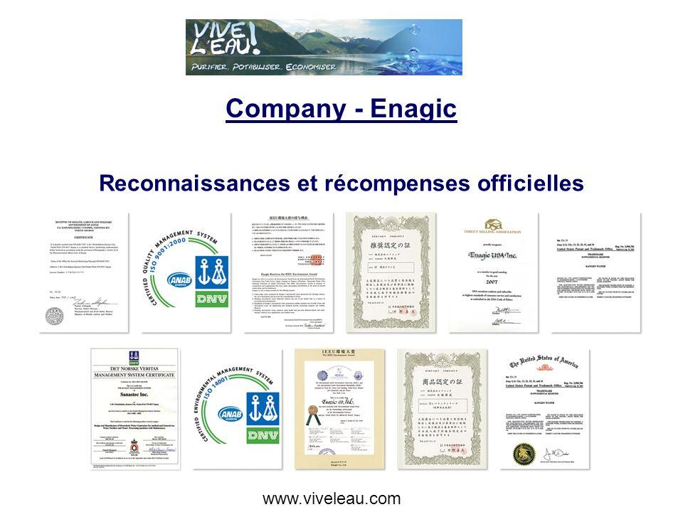 Company - Enagic Reconnaissances et récompenses officielles www.viveleau.com