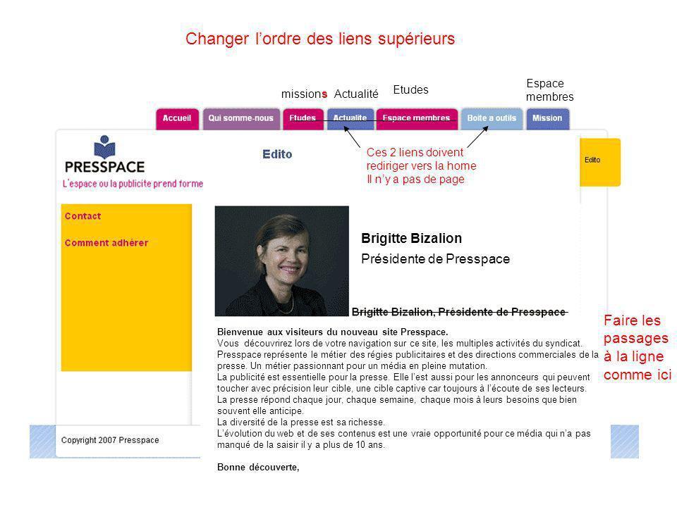 missions Etudes Actualité Espace membres Brigitte Bizalion Présidente de Presspace Faire les passages à la ligne comme ici Changer lordre des liens su