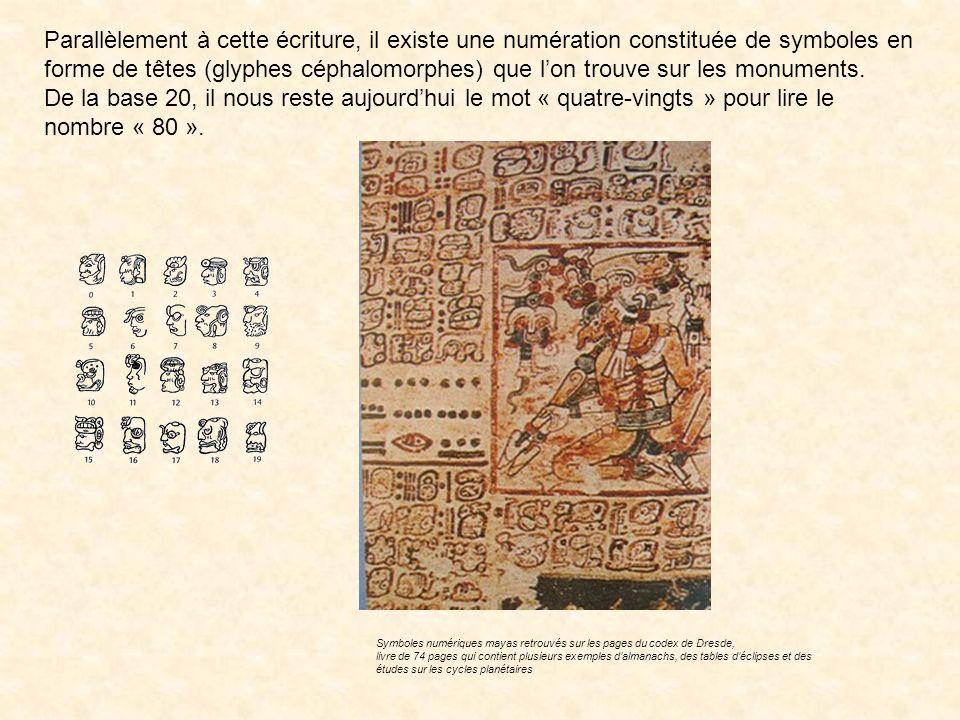 Les mayas écrivent de haut en bas par puissances de 20 décroissantes. Leur système connaît cependant une irrégularité au 3ème ordre de lécriture. Les