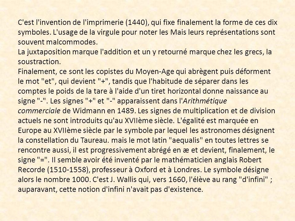 C'est l'invention de l'imprimerie (1440), qui fixe finalement la forme de ces dix symboles. L'usage de la virgule pour noter les nombres