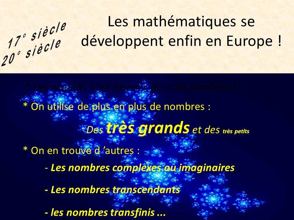 Les écrits arabes arrivent en Europe et réveillent les mathématiciens occidentaux ! * Ils commencent à utiliser les nombres relatifs -2 est un numeri