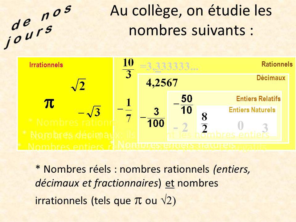 Les mathématiques se développent enfin en Europe ! * Les négatifs vont devenir de vrais nombres ! * On utilise de plus en plus de nombres : Des très g