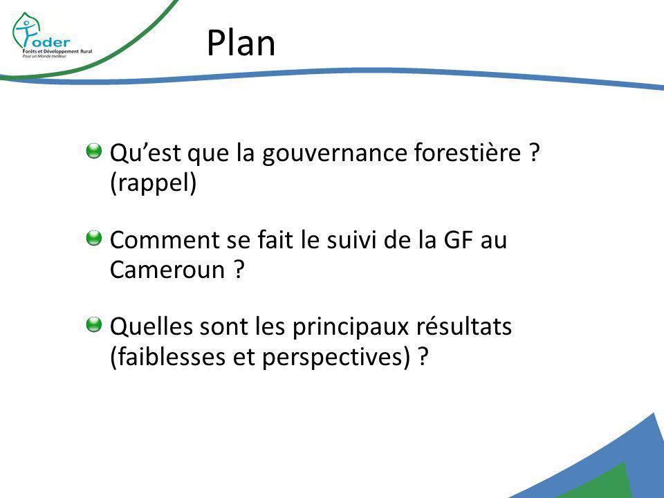 Plan Quest que la gouvernance forestière . (rappel) Comment se fait le suivi de la GF au Cameroun .