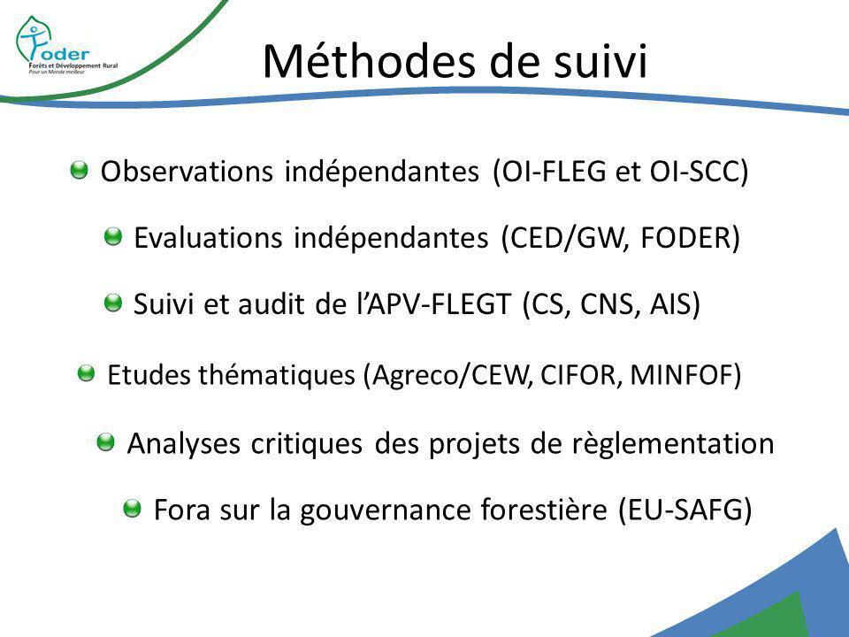 Méthodes de suivi Observations indépendantes (OI-FLEG et OI-SCC) Suivi et audit de lAPV-FLEGT (CS, CNS, AIS) Etudes thématiques (Agreco/CEW, CIFOR, MINFOF) Analyses critiques des projets de règlementation Evaluations indépendantes (CED/GW, FODER) Fora sur la gouvernance forestière (EU-SAFG)