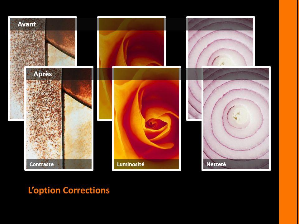 Loption Corrections vous permet de modifier le contraste, la luminosité et la netteté de vos images. Avant Après ContrasteLuminositéNetteté