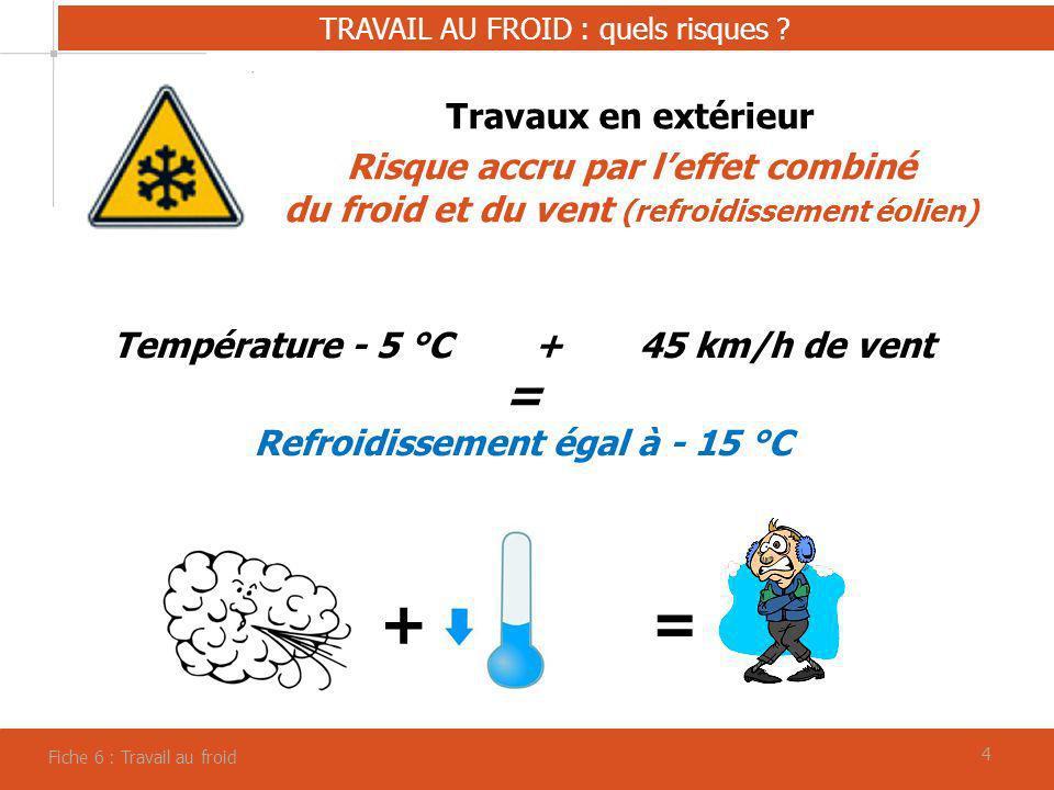 44 TRAVAIL AU FROID : quels risques ? Fiche 6 : Travail au froid Travaux en extérieur Risque accru par leffet combiné du froid et du vent (refroidisse