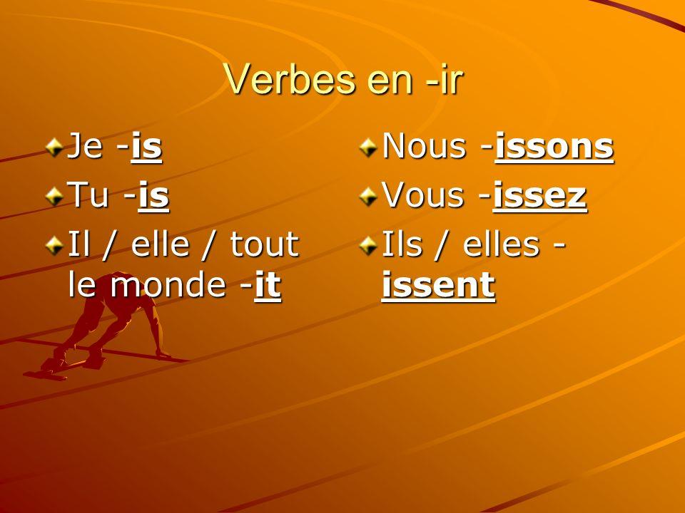 Verbes en -ir Je -is Tu -is Il / elle / tout le monde -it Nous -issons Vous -issez Ils / elles - issent