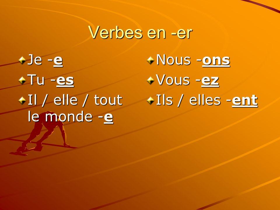 Verbes en -er Je -e Tu -es Il / elle / tout le monde -e Nous -ons Vous -ez Ils / elles -ent
