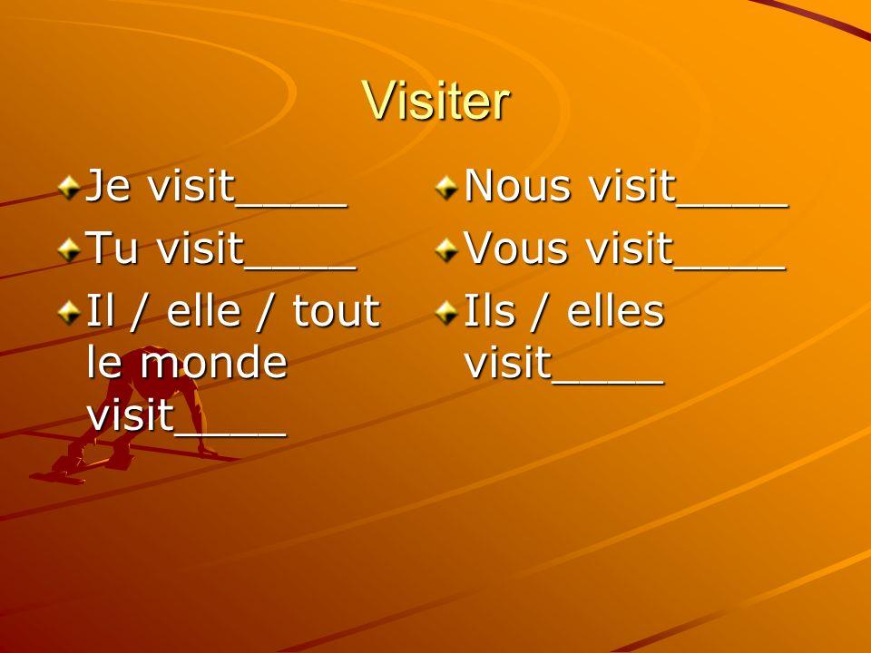 Visiter Je visit____ Tu visit____ Il / elle / tout le monde visit____ Nous visit____ Vous visit____ Ils / elles visit____