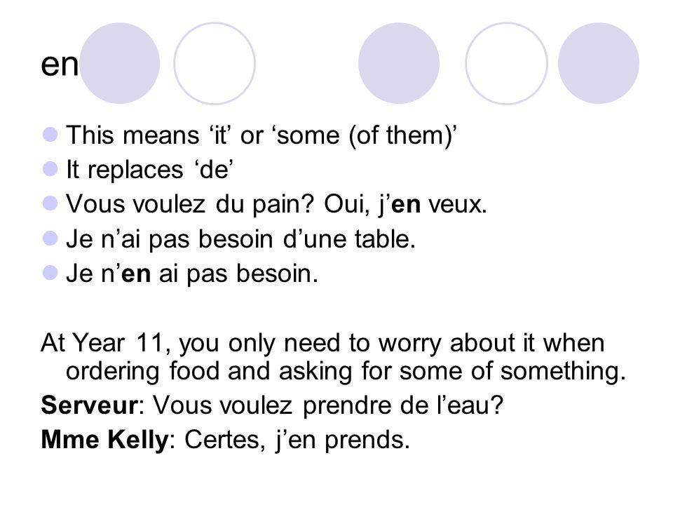 en This means it or some (of them) It replaces de Vous voulez du pain.