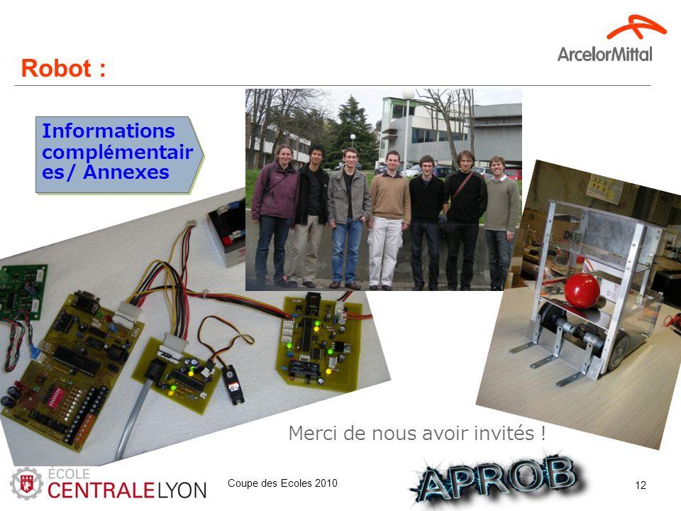 Coupe des Ecoles 2010 12 Informations complémentair es/ Annexes Merci de nous avoir invités ! Robot :
