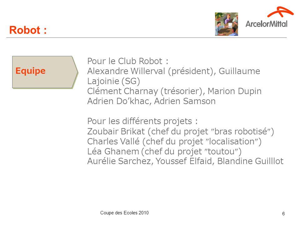 Coupe des Ecoles 2010 6 Equipe Pour le Club Robot : Alexandre Willerval (président), Guillaume Lajoinie (SG) Clément Charnay (trésorier), Marion Dupin