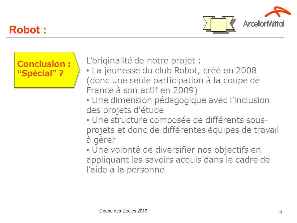 Coupe des Ecoles 2010 8 Conclusion :Spécial ? Robot : Loriginalité de notre projet : La jeunesse du club Robot, créé en 2008 (donc une seule participa