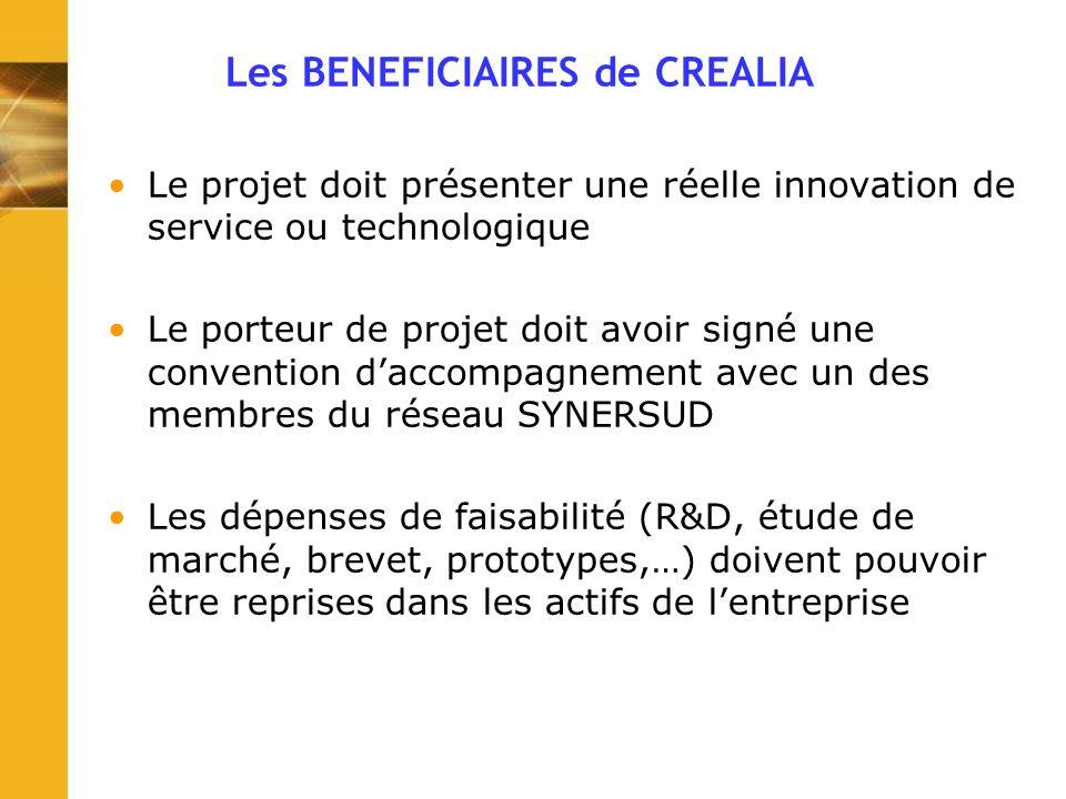 Les BENEFICIAIRES de CREALIA Le projet doit présenter une réelle innovation de service ou technologique Le porteur de projet doit avoir signé une conv