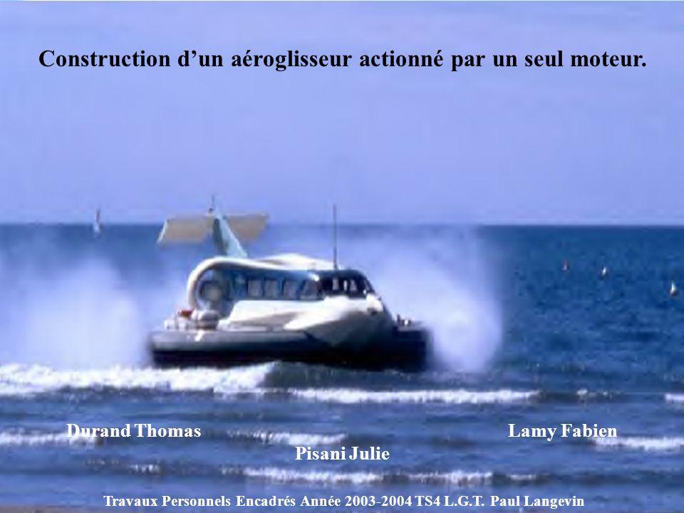 Construction dun aéroglisseur actionné par un seul moteur. Durand Thomas Lamy Fabien Pisani Julie Travaux Personnels Encadrés Année 2003-2004 TS4 L.G.