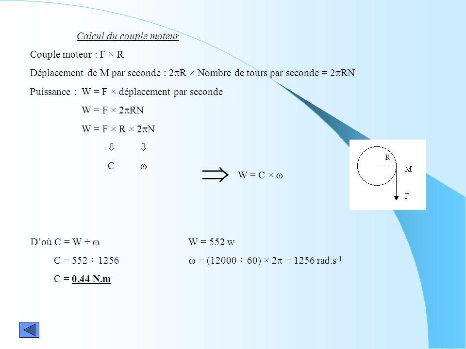 Calcul du couple moteur Couple moteur : F × R Déplacement de M par seconde : 2 R × Nombre de tours par seconde = 2 RN Puissance : W = F × déplacement