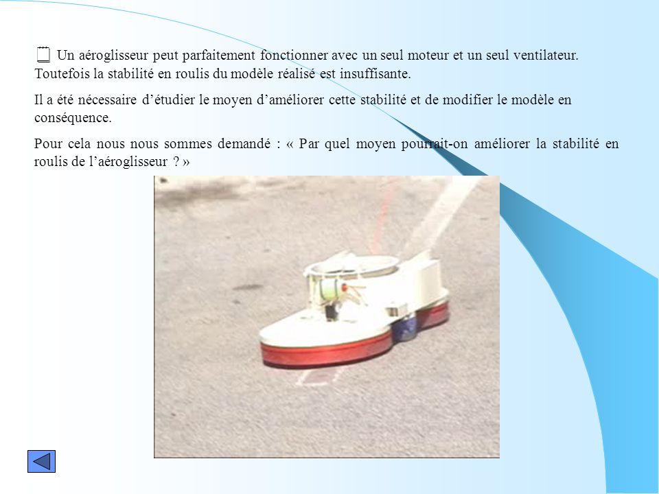 Un aéroglisseur peut parfaitement fonctionner avec un seul moteur et un seul ventilateur. Toutefois la stabilité en roulis du modèle réalisé est insuf
