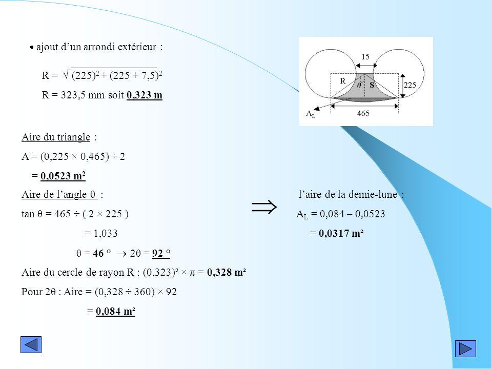 ajout dun arrondi extérieur : R = (225) 2 + (225 + 7,5) 2 R = 323,5 mm soit 0,323 m Aire du triangle : A = (0,225 × 0,465) ÷ 2 = 0,0523 m 2 laire de l