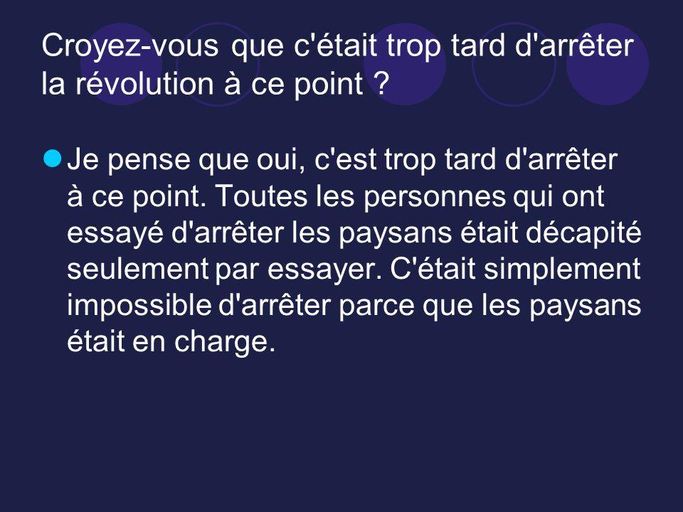 Croyez-vous que c'était trop tard d'arrêter la révolution à ce point ? Je pense que oui, c'est trop tard d'arrêter à ce point. Toutes les personnes qu
