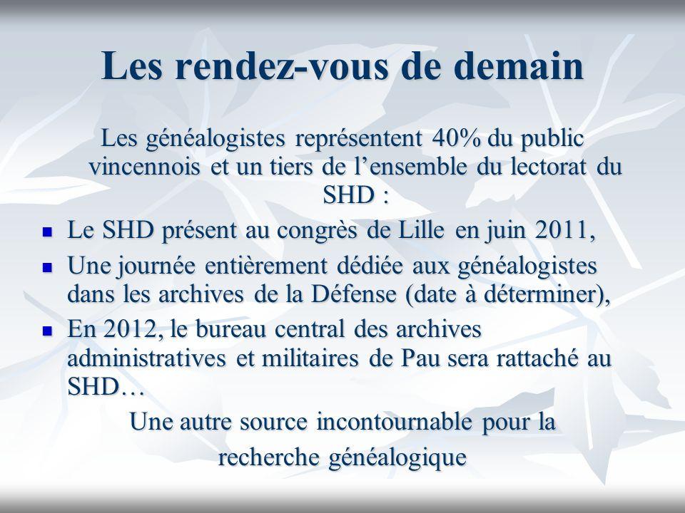 Les rendez-vous de demain Les généalogistes représentent 40% du public vincennois et un tiers de lensemble du lectorat du SHD : Le SHD présent au cong