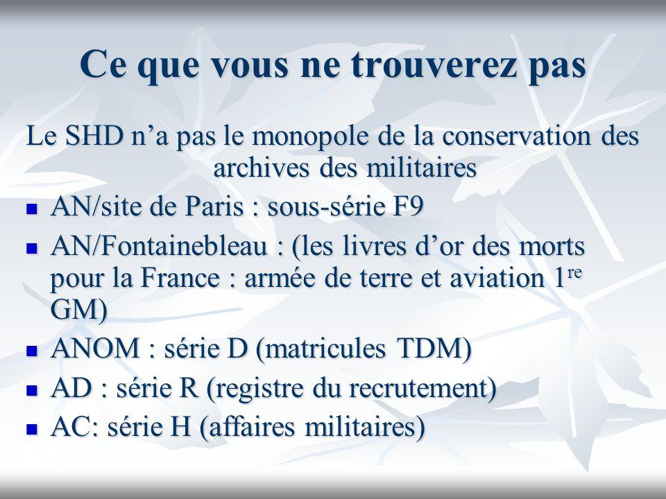 Ce que vous ne trouverez pas Le SHD na pas le monopole de la conservation des archives des militaires AN/site de Paris : sous-série F9 AN/site de Pari