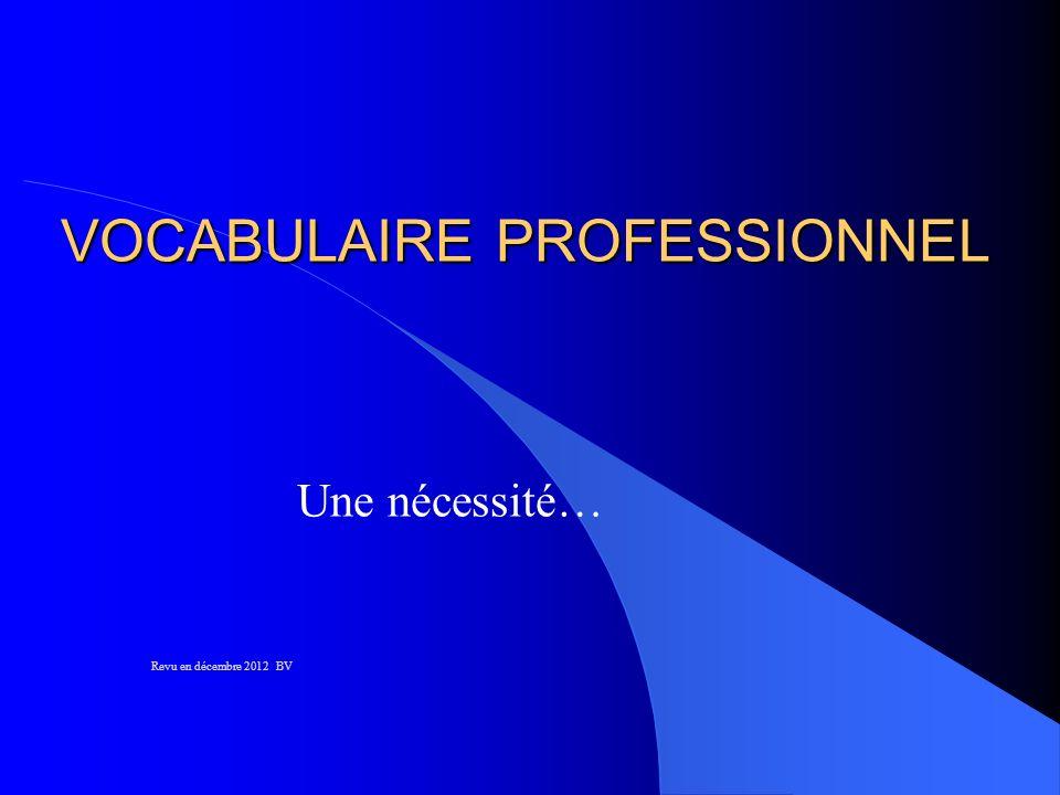 VOCABULAIRE PROFESSIONNEL Une nécessité… Revu en décembre 2012 BV