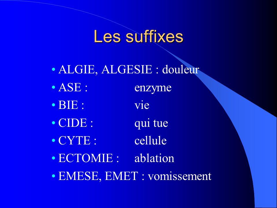 Les suffixes ALGIE, ALGESIE : douleur ASE : enzyme BIE : vie CIDE : qui tue CYTE : cellule ECTOMIE : ablation EMESE, EMET : vomissement