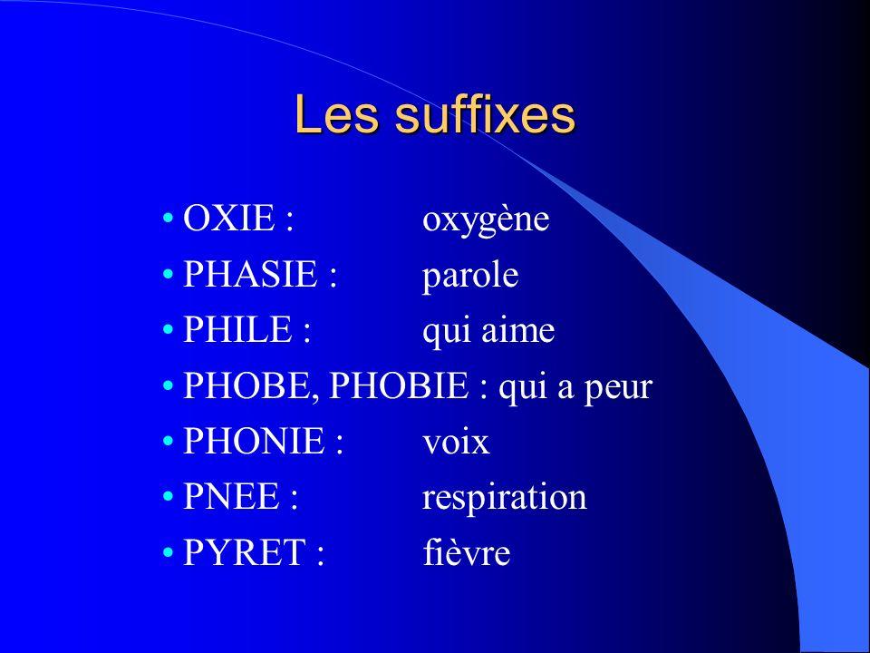 Les suffixes OXIE : oxygène PHASIE : parole PHILE : qui aime PHOBE, PHOBIE : qui a peur PHONIE : voix PNEE : respiration PYRET : fièvre