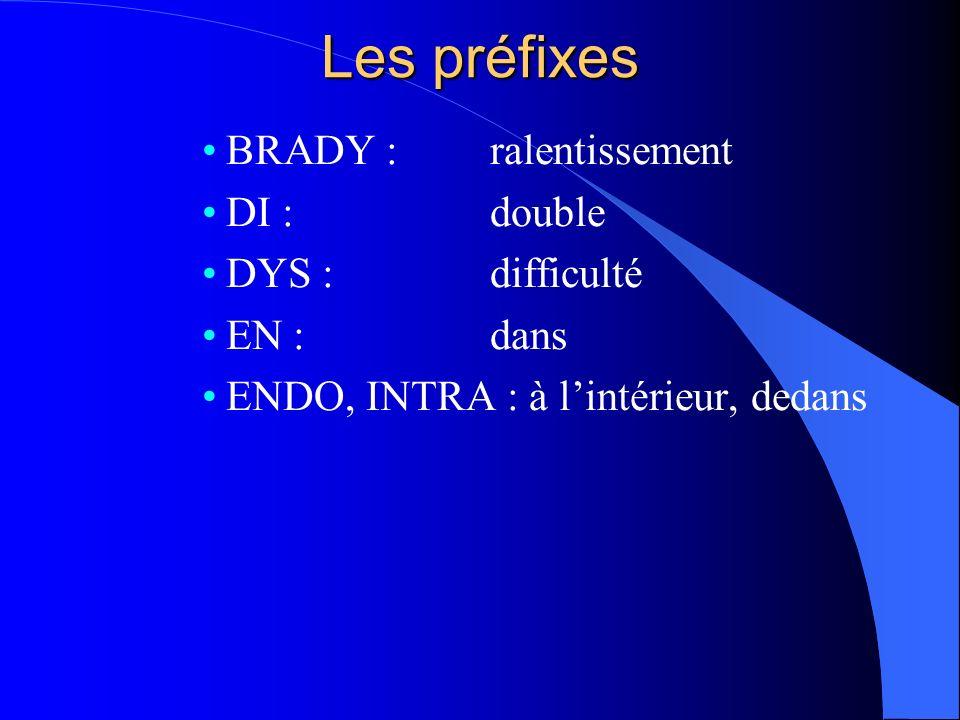 Les préfixes BRADY : ralentissement DI : double DYS : difficulté EN : dans ENDO, INTRA : à lintérieur, dedans