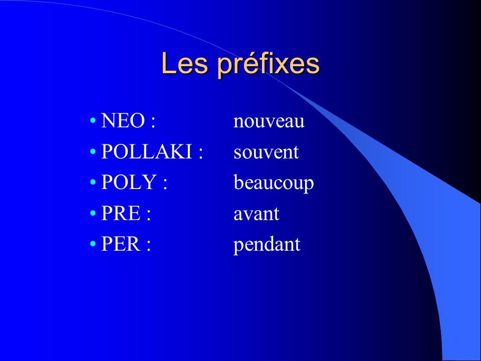 Les préfixes NEO : nouveau POLLAKI : souvent POLY : beaucoup PRE : avant PER : pendant