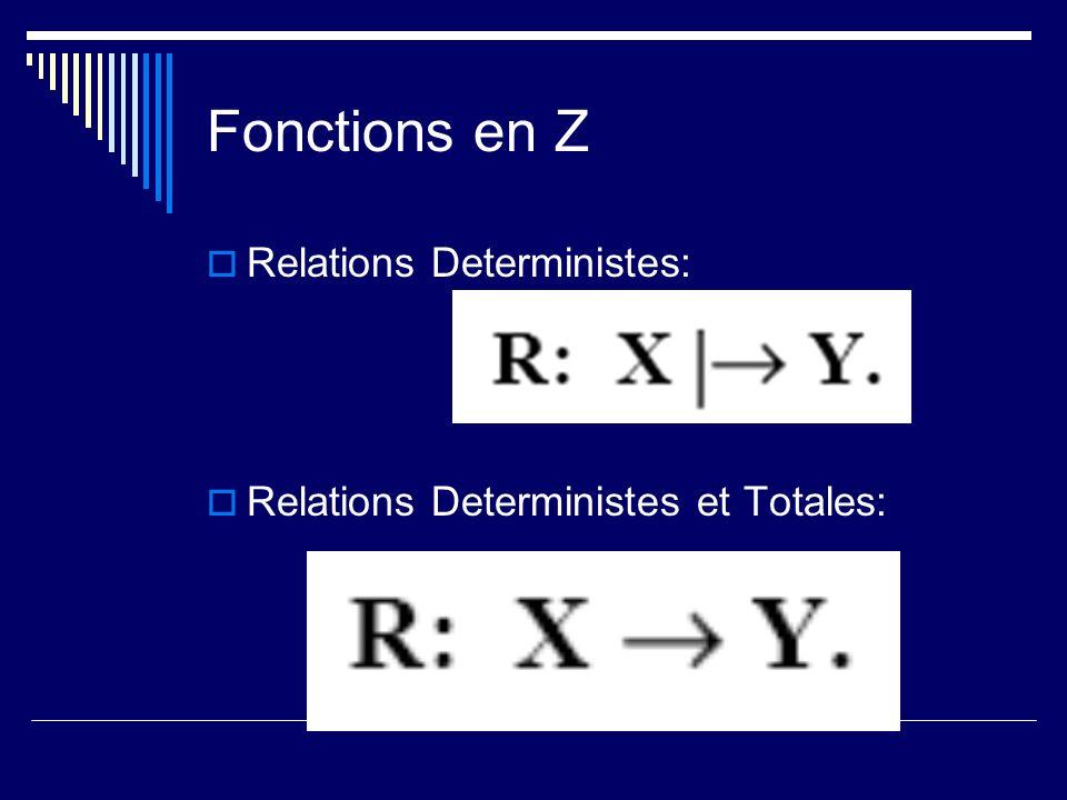 Fonctions en Z Relations Deterministes: Relations Deterministes et Totales: