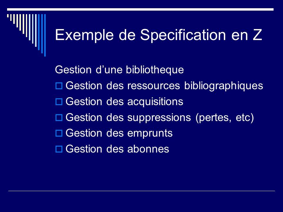 Exemple de Specification en Z Gestion dune bibliotheque Gestion des ressources bibliographiques Gestion des acquisitions Gestion des suppressions (per