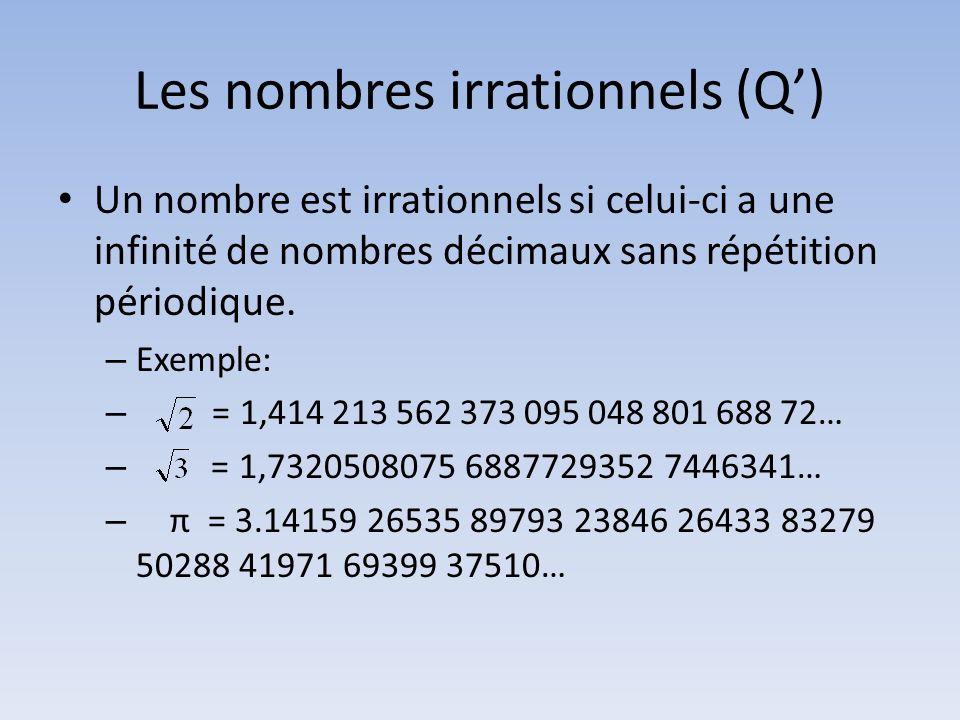 Les nombres irrationnels (Q) Un nombre est irrationnels si celui-ci a une infinité de nombres décimaux sans répétition périodique. – Exemple: – = 1,41