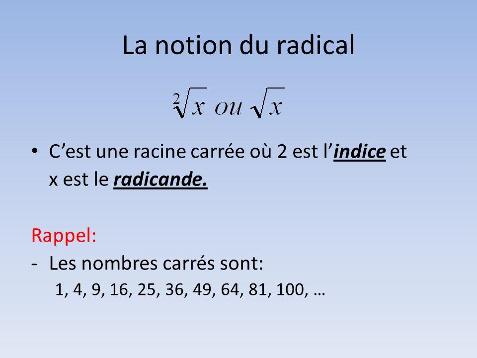 La notion du radical Cest une racine carrée où 2 est lindice et x est le radicande. Rappel: -Les nombres carrés sont: 1, 4, 9, 16, 25, 36, 49, 64, 81,