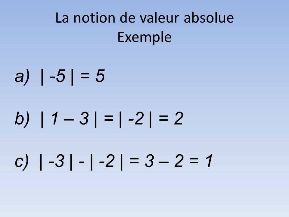 La notion de valeur absolue Exemple a) | -5 | = 5 b) | 1 – 3 | = | -2 | = 2 c) | -3 | - | -2 | = 3 – 2 = 1