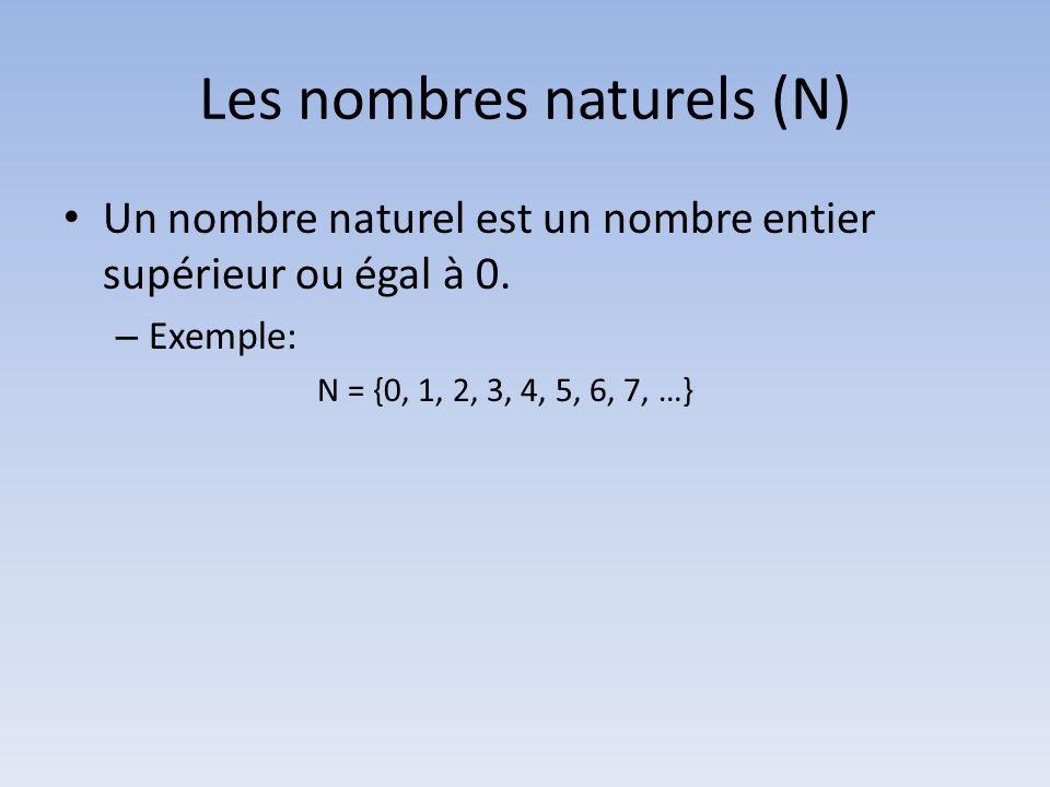 Les nombres naturels (N) Un nombre naturel est un nombre entier supérieur ou égal à 0. – Exemple: N = {0, 1, 2, 3, 4, 5, 6, 7, …}