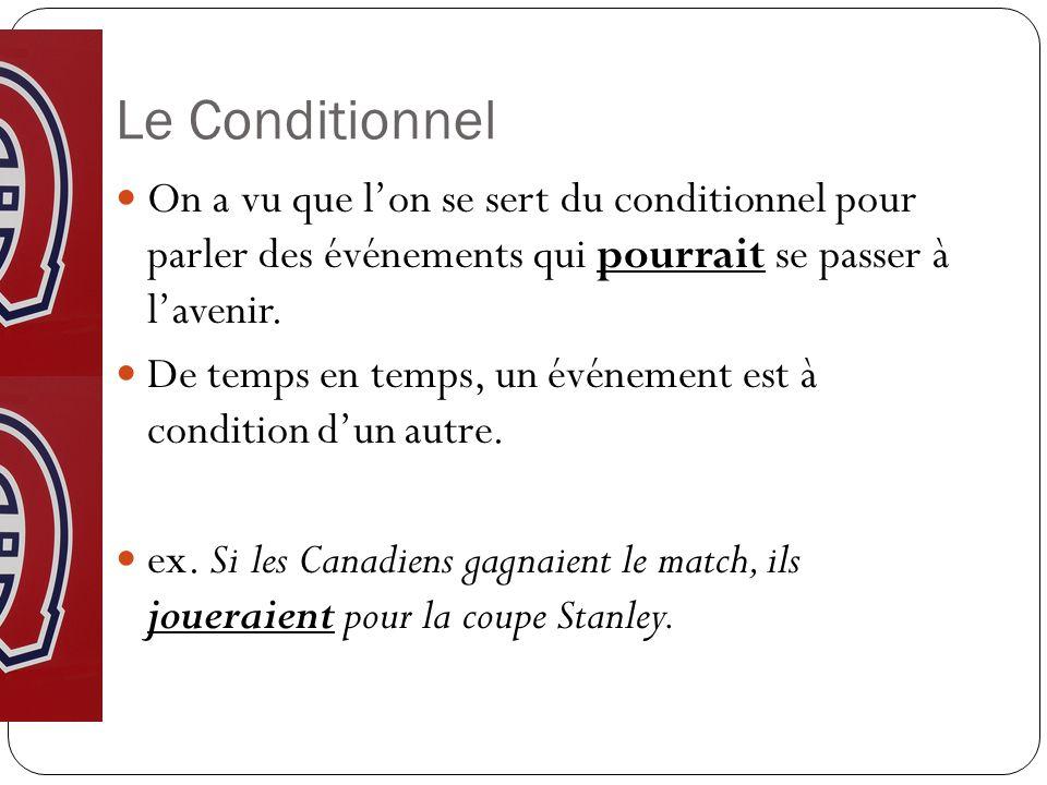 Le Conditionnel On a vu que lon se sert du conditionnel pour parler des événements qui pourrait se passer à lavenir.