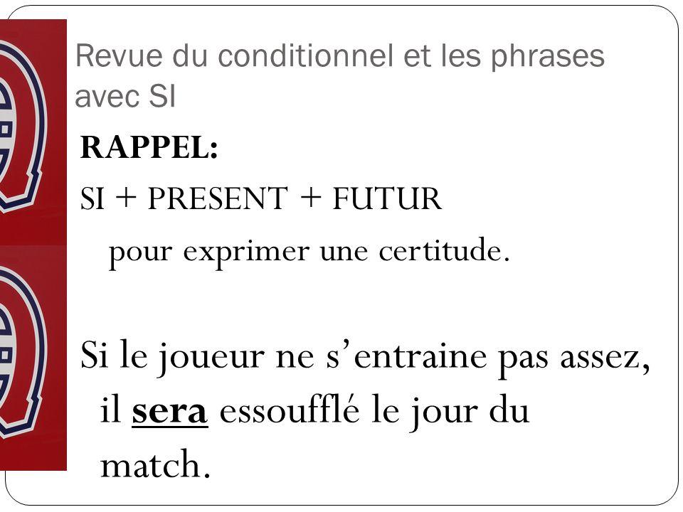 Revue du conditionnel et les phrases avec SI RAPPEL: SI + PRESENT + FUTUR pour exprimer une certitude.