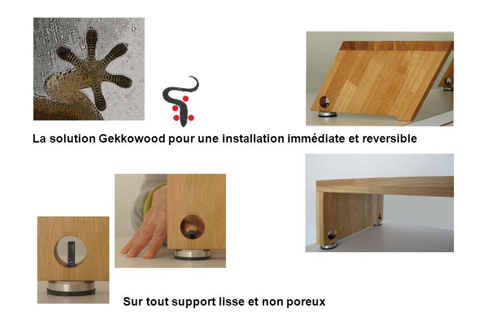 La solution Gekkowood pour une installation immédiate et reversible Sur tout support lisse et non poreux