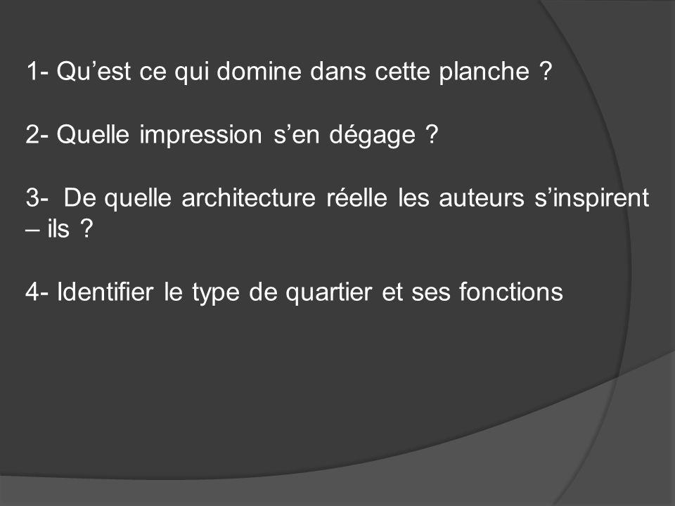 1- Quest ce qui domine dans cette planche ? 2- Quelle impression sen dégage ? 3- De quelle architecture réelle les auteurs sinspirent – ils ? 4- Ident
