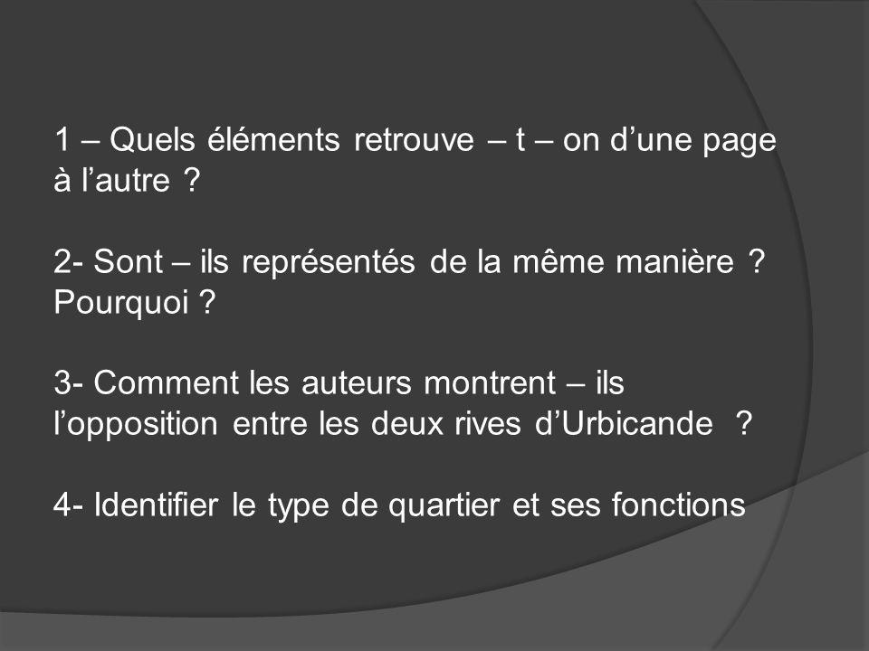 1 – Quels éléments retrouve – t – on dune page à lautre ? 2- Sont – ils représentés de la même manière ? Pourquoi ? 3- Comment les auteurs montrent –
