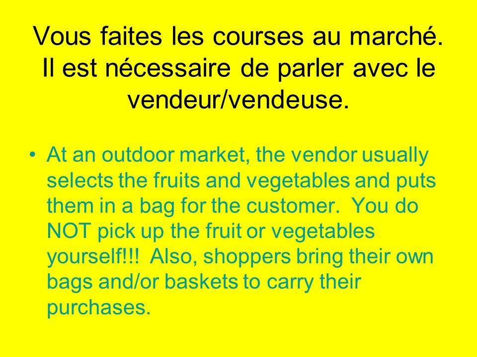 Vous faites les courses au marché. Il est nécessaire de parler avec le vendeur/vendeuse. At an outdoor market, the vendor usually selects the fruits a