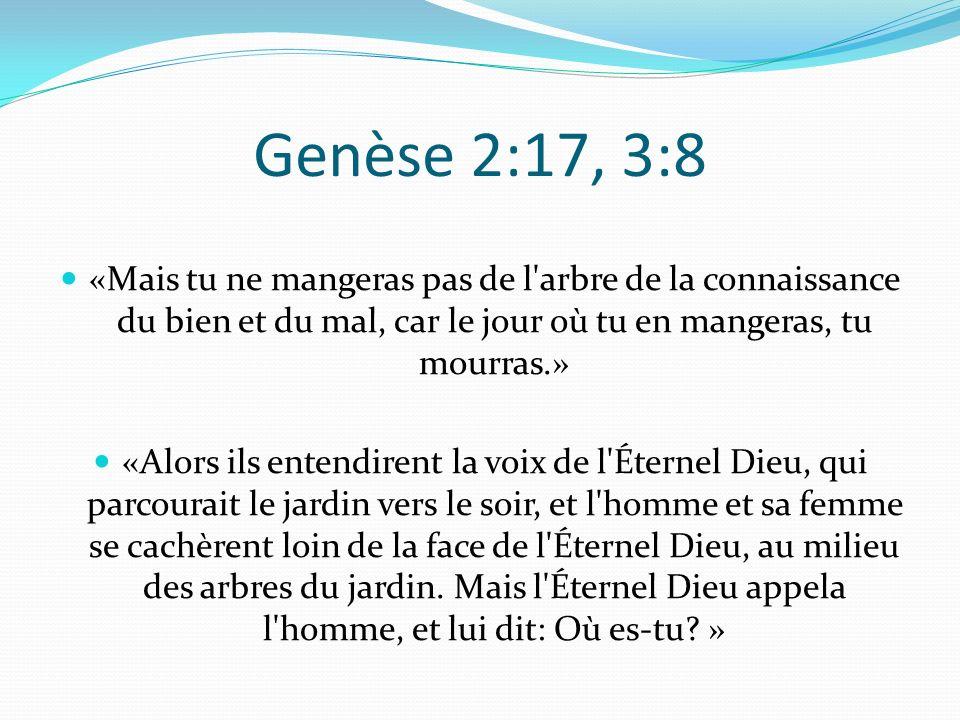 Genèse 2:17, 3:8 «Mais tu ne mangeras pas de l arbre de la connaissance du bien et du mal, car le jour où tu en mangeras, tu mourras.» «Alors ils entendirent la voix de l Éternel Dieu, qui parcourait le jardin vers le soir, et l homme et sa femme se cachèrent loin de la face de l Éternel Dieu, au milieu des arbres du jardin.