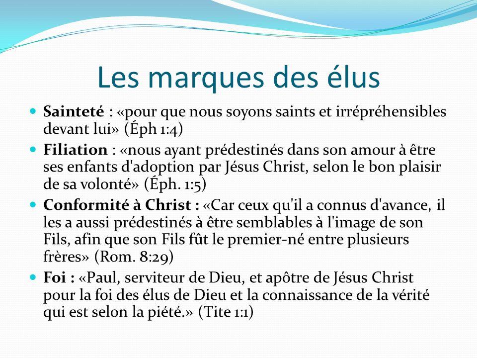 Les marques des élus Sainteté : «pour que nous soyons saints et irrépréhensibles devant lui» (Éph 1:4) Filiation : «nous ayant prédestinés dans son am