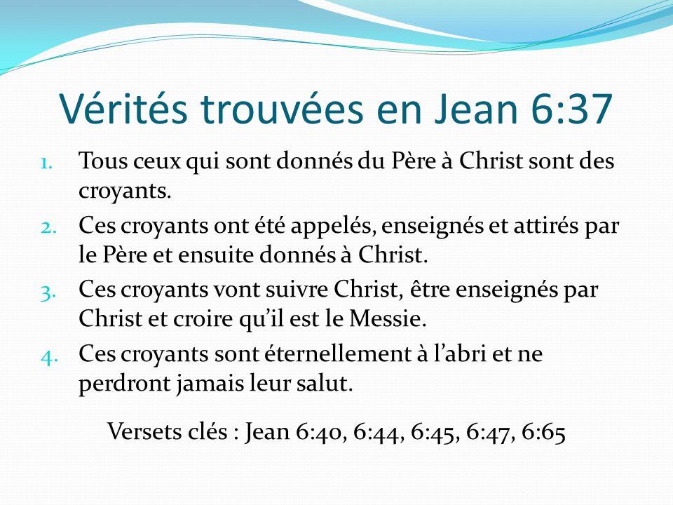 Vérités trouvées en Jean 6:37 1. Tous ceux qui sont donnés du Père à Christ sont des croyants. 2. Ces croyants ont été appelés, enseignés et attirés p
