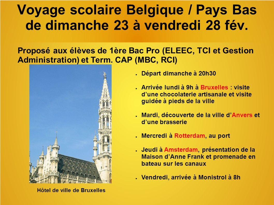 Voyage scolaire Belgique / Pays Bas de dimanche 23 à vendredi 28 fév.
