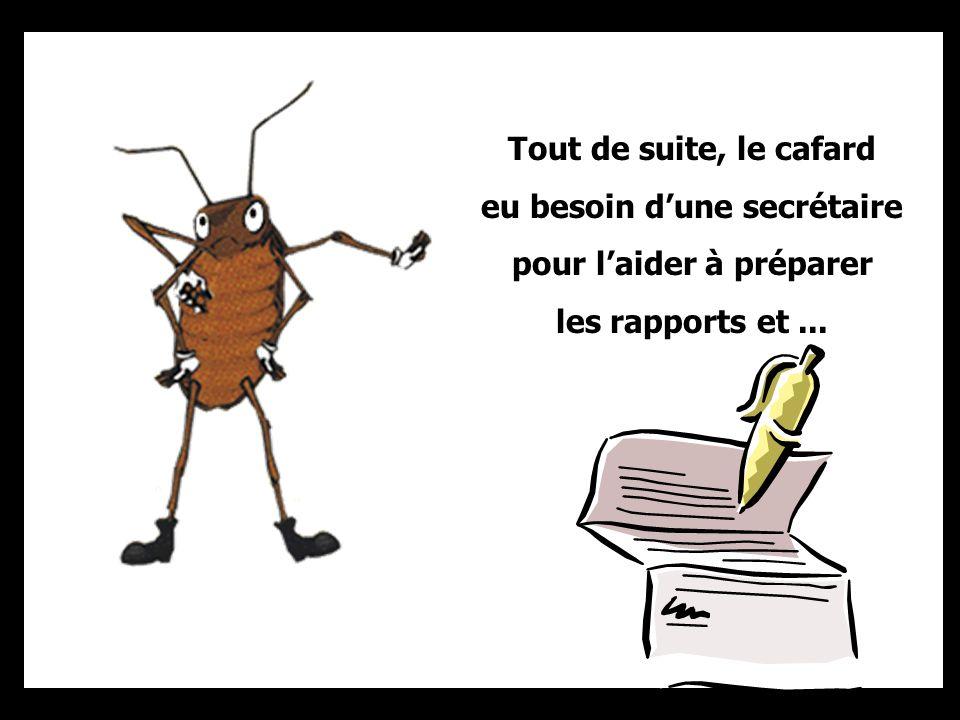 La première décision du cafard fut de mettre en vigueur un pointage des entrées et des sorties de la fourmi.