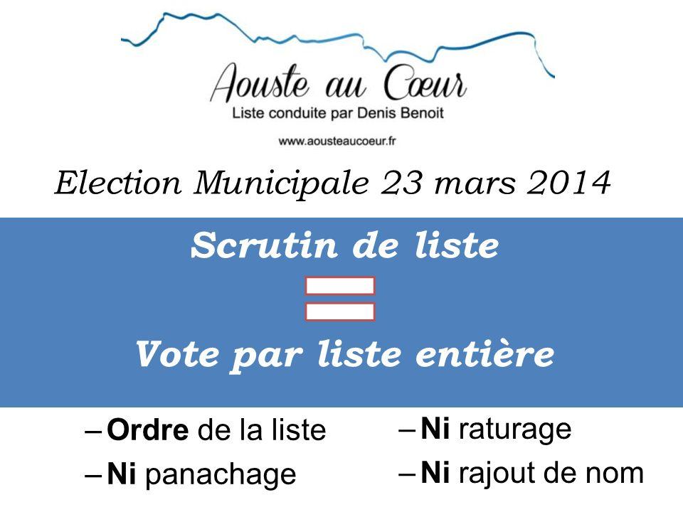 Election Municipale 23 mars 2014 Scrutin de liste Vote par liste entière –Ordre de la liste –Ni panachage –Ni raturage –Ni rajout de nom