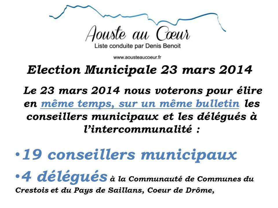 Election Municipale 23 mars 2014 Le 23 mars 2014 nous voterons pour élire en même temps, sur un même bulletin les conseillers municipaux et les délégués à lintercommunalité : 19 conseillers municipaux 4 délégués à la Communauté de Communes du Crestois et du Pays de Saillans, Coeur de Drôme,